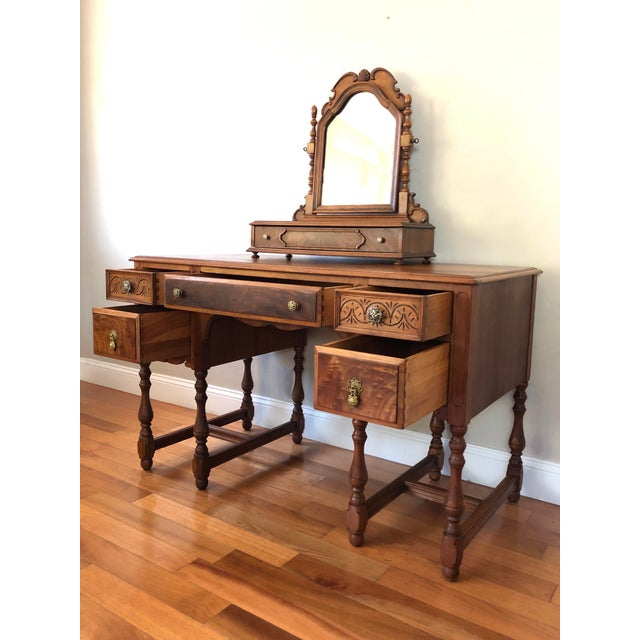 Traditional 1920's Antique Solid Wood Desk Vanity For Sale - Image 3 of 13