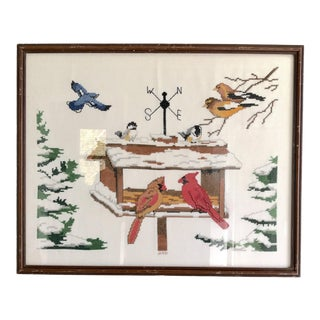 Vintage Framed Bird Needlepoint Wall Hanging For Sale