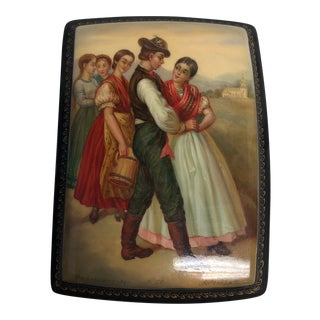 "Russian Fedoskino ""The Courting"" Motif Lacquered Box For Sale"