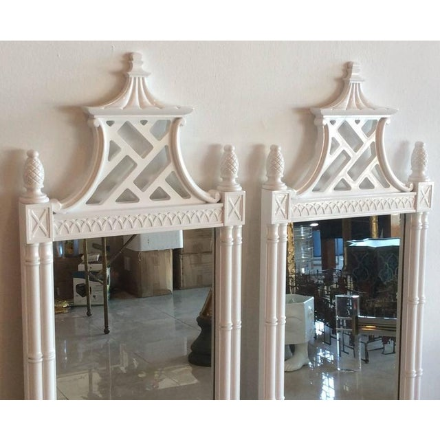 Vintage Chinese Chippendale Pagoda Faux Bamboo Wall Mirrors - A Pair - Image 5 of 11