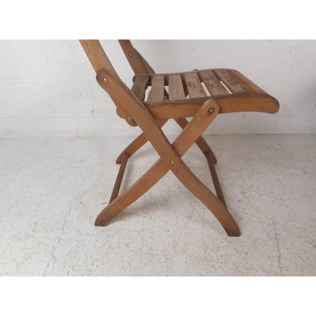 Vintage Modern Wood Folding Chairs - Set of 5 For Sale - Image 9 of 11