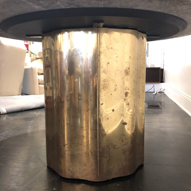 Metal Italian Marble Table / Brass Base Table For Sale - Image 7 of 10