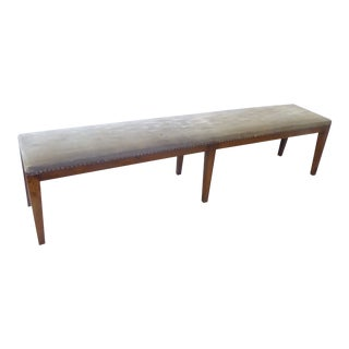 Vintage Directoire Style Beechwood Fruitwood Tone Bench For Sale