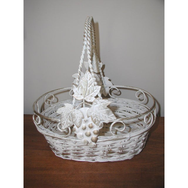 20th Century Vintage Metal & Straw Oval Basket For Sale - Image 6 of 6