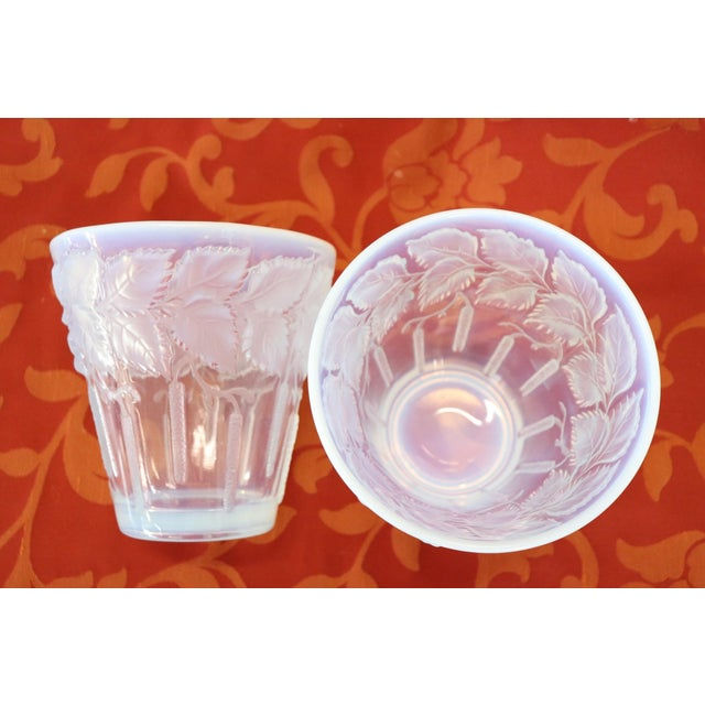 Art Deco French Art Deco Opalescent Glass Pair of Vases For Sale - Image 3 of 5