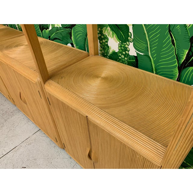 Mid-Century Modern Split Reed Rattan Wall Unit in the Manner of Gabriella Crespi For Sale - Image 3 of 13