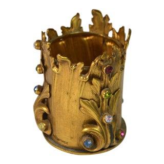 1940s Art Nouveau Brass Gold Metal Flame Shape Toothpick Holder For Sale
