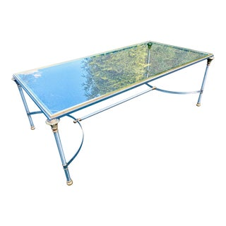 Maison Jansen Style Brushed Steel and Brass Coffee Table For Sale
