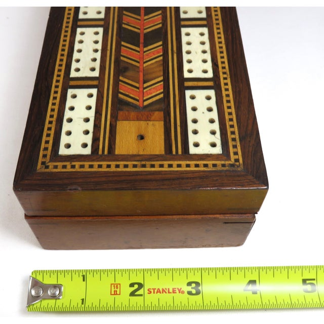 19th Century Victorian Inlay Mahogany Cribbage Board Game Box For Sale - Image 11 of 13