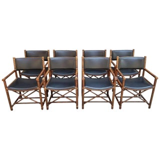 Set of Eight McGuire Bamboo and Leather Chairs For Sale