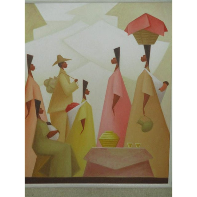 "Fabulous figural painting from listed Latin American artist Avelino Rocha. Oil on canvas measures 20"" x 24"". With the..."