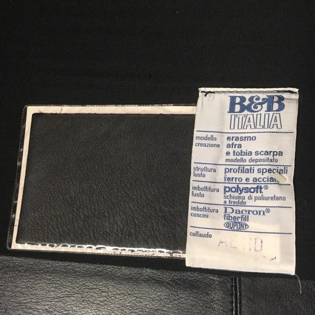 "Afra & Tobia Scarpa Model ""Erasmo"" Leather Sofa and Ottoman Signed B&b Italia For Sale - Image 12 of 13"