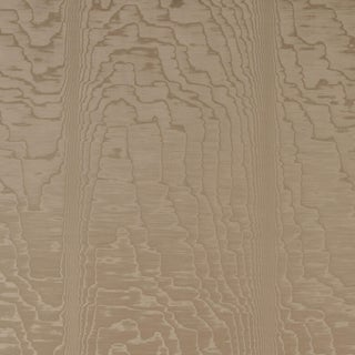 Sample - Schumacher Moire Wallpaper in Fawn For Sale