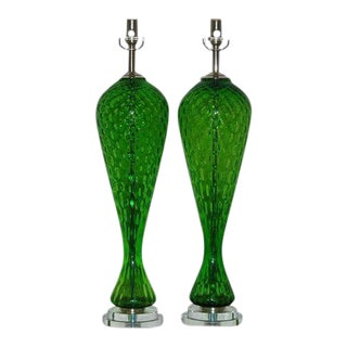 Vintage Murano Glass Windowpane Table Lamps Green For Sale