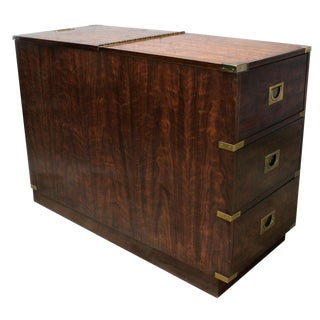 Campaign Style Chest Type Drexel Dry Bar Vintage Mid Century For Sale