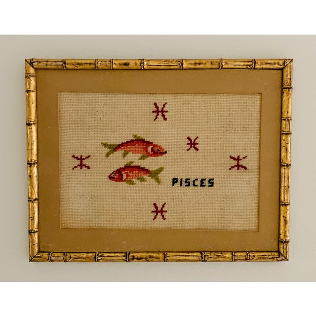 Metal Vintage Pisces Astrology Needlepoint With Gold Faux Bamboo Frame For Sale - Image 7 of 7