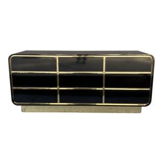 Postmodern Black & Gold Laminated Space Age Dresser For Sale