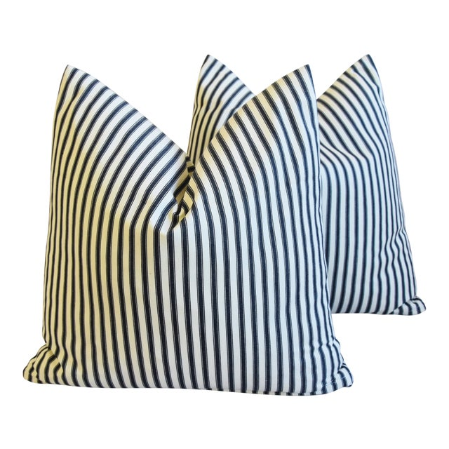 """French Black & White Striped Ticking Feather/Down Pillows 23"""" Square - Pair For Sale"""