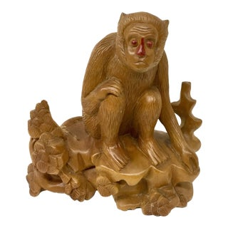 Solid Wood Monkey Carving