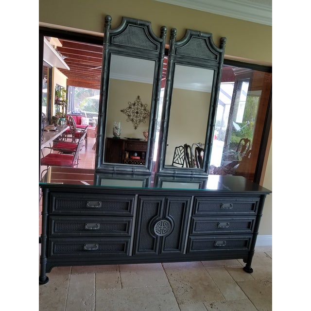 Asian Vintage Wood Faux Bamboo Credenza & Mirror For Sale - Image 3 of 9
