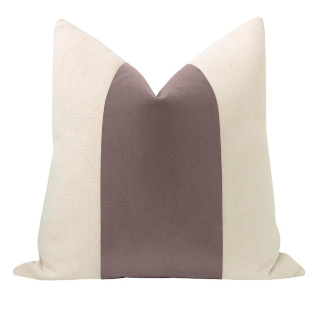 "Pair of beautiful 22"" natural linen pillows with a smokey lavender mohair velvet center and solid natural linen reverse...."