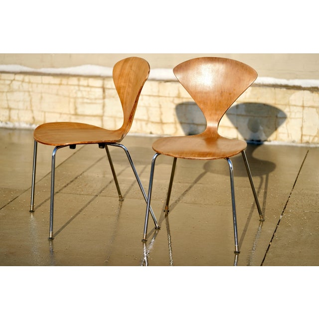 Mid-Century Modern 1950s Vintage Norman Cherner Designed Plycraft Chairs on Chrome Bases- 2 Available. For Sale - Image 3 of 9