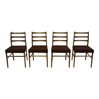 Danish Modern Brown Dining Chairs - Set of 4