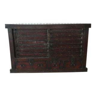 Very Large Antique Japanese Choba Dansu Merchant Tansu Chest With Sliding Doors For Sale