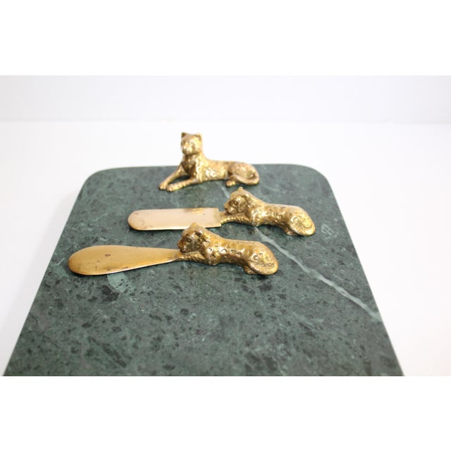 Arthur Court Vintage Green Marble Tray With Gold Leopard Serving Knives, 1970's For Sale - Image 4 of 12