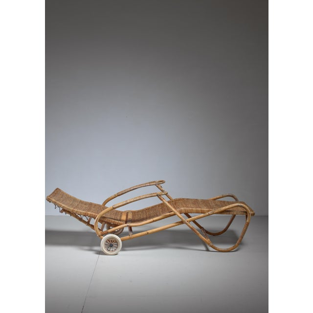 Adjustable Bamboo and Rattan Chaise With Wheels, Germany, 1920s-1930s For Sale - Image 4 of 7