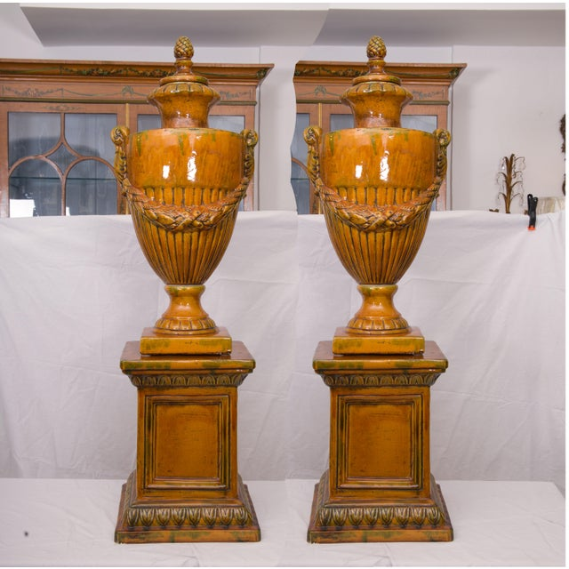 Pair of Italian Glazed Terra Cotta Lidded Urns, Late 20th Century For Sale - Image 11 of 11