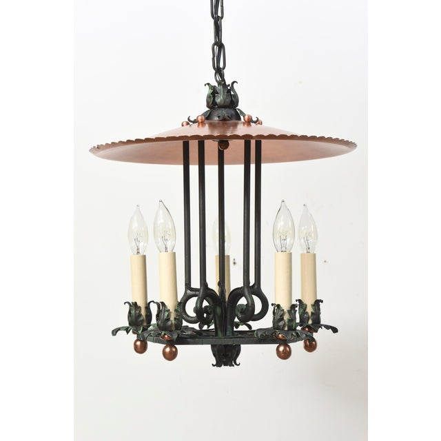 1930s Copper and Verdigris Open Lantern For Sale - Image 5 of 12