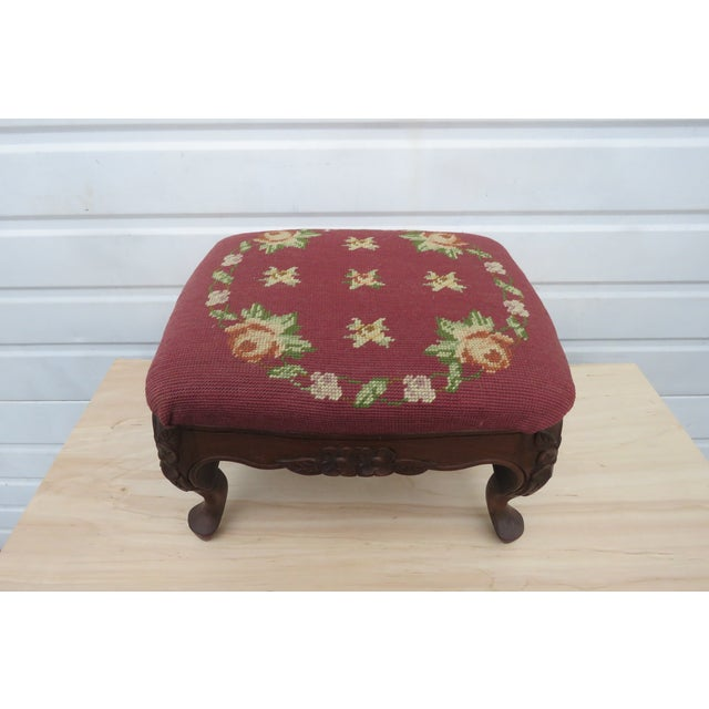 French Carved Needlepoint Tapestry Small Ottoman Footstool Bench For Sale In Miami - Image 6 of 13