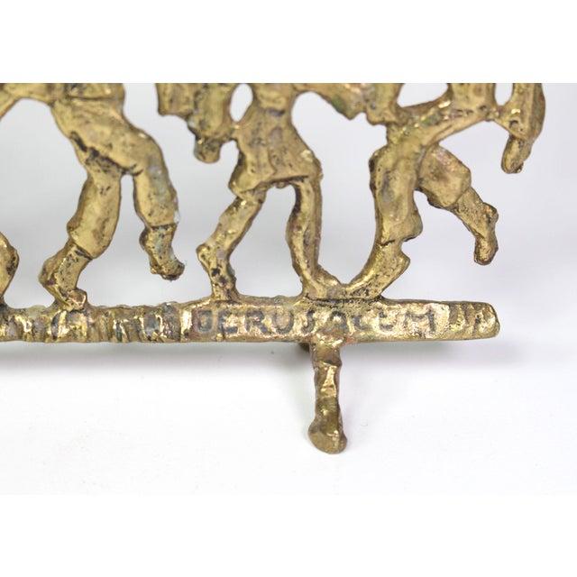 1950s 1950's Folk Art Dancing Figures Brass Menorah Candle Holder For Sale - Image 5 of 7