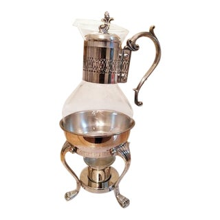 Vintage Silver Plated Coffee Carafe and Warmer Set For Sale