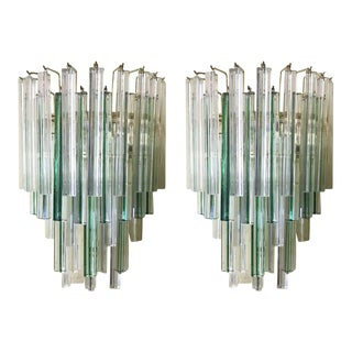 Triedri Clear and Green Murano Glass Sconces by Venini - a Pair For Sale