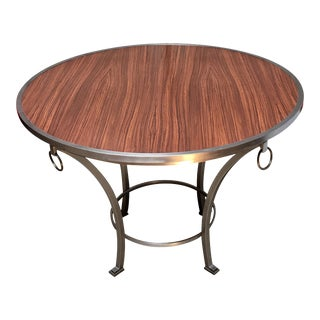 Contemporary Zebra Wood Dining / Game / Center Table with Steel Frame For Sale