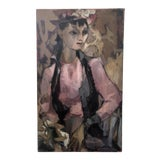 Image of Vintage 1956 Abstract Expressionist Portrait of a Woman Painting For Sale