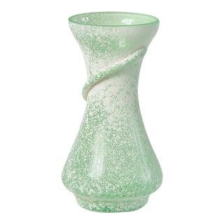Green 1960s Seguso Scavo-Style Mini Murano Glass Vase For Sale