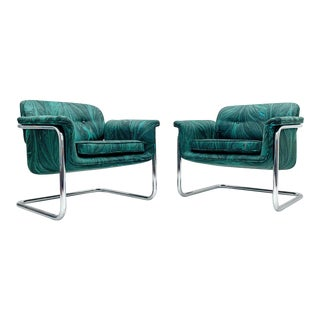 1970s Thonet Cantilever Chairs in Marbleized Velvet - a Pair For Sale