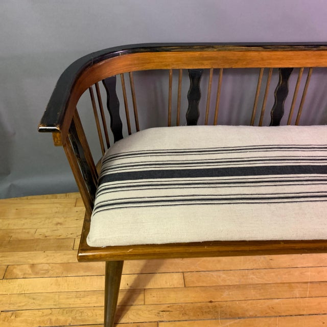 White Swedish 1950s Småland Long Bench in Solid Pine For Sale - Image 8 of 11