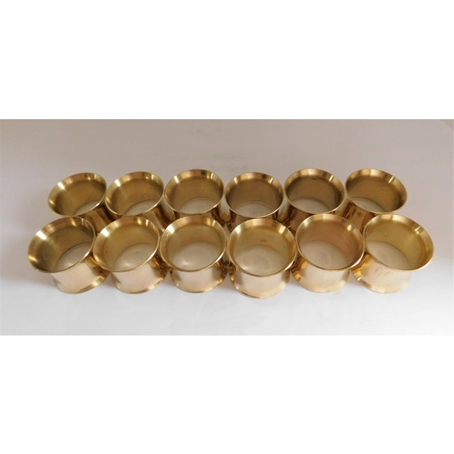 Late 20th Century Solid Brass Vintage Napkin Rings - Set of 12 For Sale - Image 5 of 13