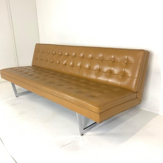 Patrician Patrician Mid-Century Steel Sled Base Saddle Naugahyde Tufted Gallery Sofa For Sale - Image 4 of 8