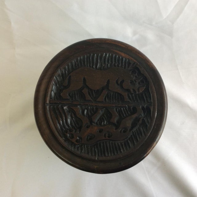 Indonesia Wooden Hand Carved Coasters - Set of 6 For Sale In Raleigh - Image 6 of 8