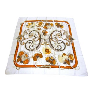 Hermes Paris Silk Floral Scarf For Sale