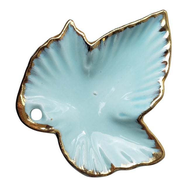1930s Hand Painted Leaf Shaped Trinket Dish For Sale
