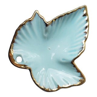 Leaf Shaped Trinket Dish Hand Painted With Gilt For Sale