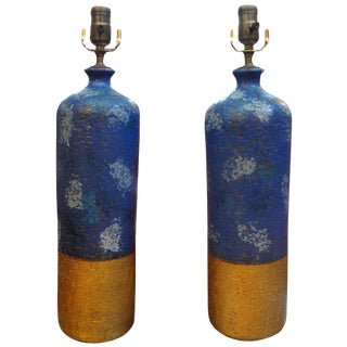 1960's Vintage Italian Aldo Londi for Bitossi Blue and Gold Pottery Lamps - a Pair For Sale