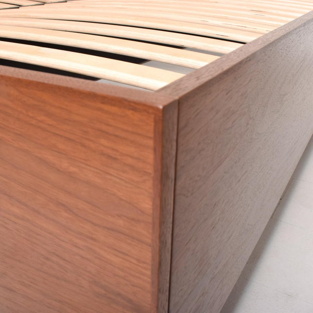 Brown Pablo Romo for Ambianic Custom Bed Frame Cal King Walnut Platform Frame For Sale - Image 8 of 9