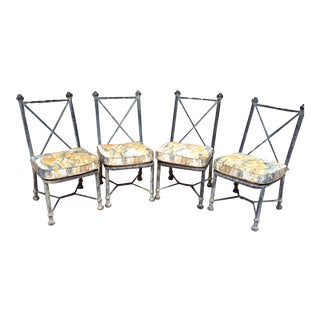 Vintage Metal Chairs with Custom Cushions - Set of 4 For Sale